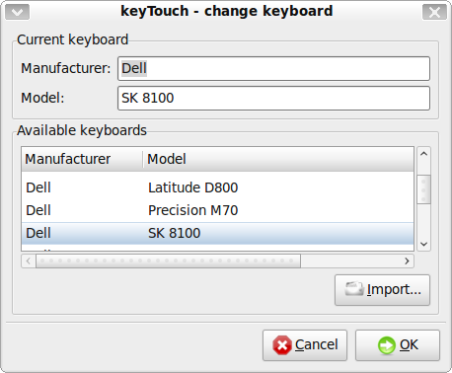 Current keyboard import