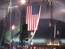 American flag hanging from the big top